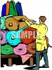 Worker Displaying Bolts of Fabric in Rolls clipart