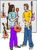 Musician Looking at Guitars in a Music Store clipart