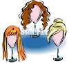 Different Wigs on Stands in a Display clipart