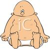Cartoon of a Fat Baby with a Dirty Diaper clipart