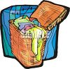 Wicker Laundry Basket Full of Dirty Clothes clipart