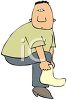 Cartoon of a Chubby Man Putting on His Sock clipart