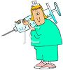 Cartoon of a Chubby Nurse Holding a Syringe clipart