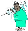 Cartoon of a Chubby Black Nurse Holding a Giant Syringe clipart