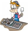 Cartoon of a Lunch Lady Serving School Cafeteria Food clipart