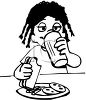 Black and White Cartoon of a Little Girl Drinking a Glass of Milk with Lunch clipart