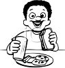 Black and White Cartoon of an Ethnic Boy Eating Lunch clipart