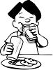 Black and White Cartoon of an Asian Boy Eating Lunch at School clipart