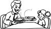 Black and White Cartoon of a Little Girl Eating a Sandwich with Her Dad clipart