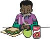 African American Boy Praying Before Eating Lunch clipart