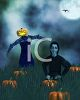 Spooky Night Scene of a Ghoul and a Scarecrow in a Pumpkin Patch clipart