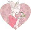 Fairy princess kissing a frog or toad to turn him back into a prince clipart