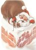 Nostalgic Santa Claus Going Down a Chimney clipart