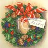 Christmas Wreath with a Happy Holidays Tag clipart