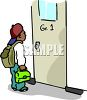 African American Boy Going to His First Grade Classroom clipart