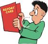 Worried Boy Looking at His Report Card clipart