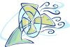 Stylized Electric Fan Blowing Cool Air Around clipart