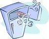Cartoon Refrigerator with Ice in the Freezer Section clipart
