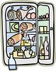 Cartoon of a Refrigerator Full of Food clipart