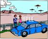 Couple Watching UFO Spaceships Hovering in the Desert clipart