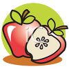 Cartoon of an Apple and a Half Apple clipart