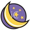 Cartoon Half Moon and Stars clipart