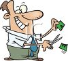 Cartoon of a Man Cutting Prices clipart