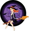 Pretty Sexy Witch Riding Her Broom with a Full Moon and Bats clipart