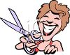 Cartoon of a Smiling Hairdresser Holding Scissors clipart