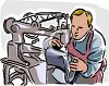 Shoemaker Sewing a Boot on an Industrial Sewing Machine clipart
