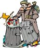 Homeless Bum Digging in a Garbage Can clipart