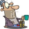 Poor Bum Begging for Money with a Cup clipart