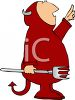 Fat Man Wearing a Devil Costume for Halloween clipart