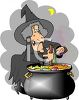 Witch with Warts on Her Nose Making a Potion in a Cauldron clipart