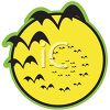 Halloween Graphic of Bats Flying in Front of the Full Moon clipart
