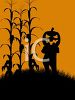 Halloween Background of a Pumpkin Head in a Cornfield clipart