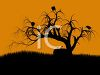 Halloween Background of Ravens in a Dead Tree clipart