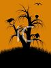 Halloween Background of Crows in a Dead Tree clipart