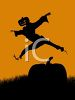 Halloween Background of a Pumpkin Head Leaping Over a Pumpkin clipart