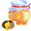 Homemade Jar of Honey with a Cloth Lid clipart
