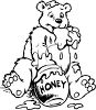 Cartoon of a Bear Digging Honey Out of a Honeypot clipart