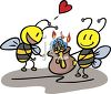 Cute Bees in Love with Honey clipart