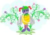 Whimsical Bee Standing with Flowers clipart