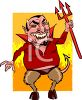 Fat Cartoon Devil with Cloven Hooves clipart