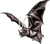 Evil Looking Vampire Bat in Flight clipart