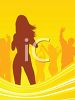Sexy Young Woman Dancing to the Beat at a Party with Background Dancers clipart