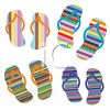 Brightly Colored Striped Flip Flops on a Summer Background clipart