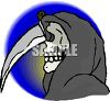 Grim Reaper Holding a Huge Knife clipart
