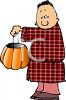 Boy in His Pajamas Giving Out Halloween Candy clipart