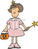 Little Girl Wearing a Princess Halloween Costume clipart